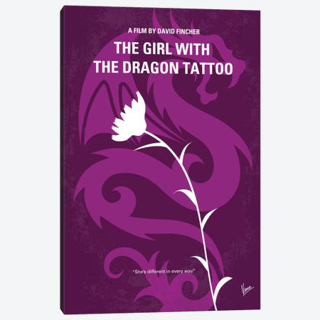 The Girl With The Dragon Tattoo Minimal Movie Poster Canvas Print #CKG458} by Chungkong Canvas Artwork