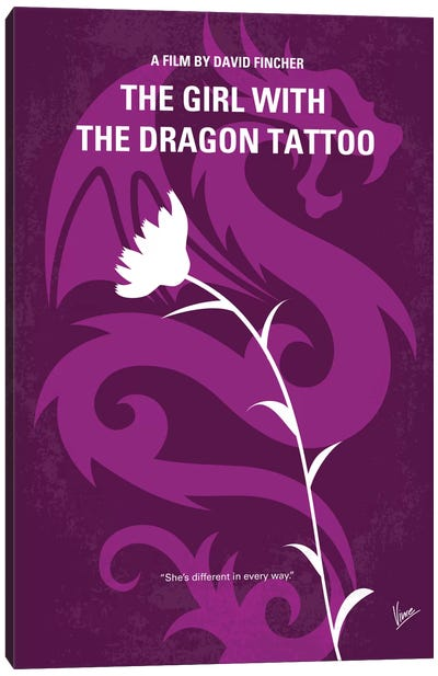 The Girl With The Dragon Tattoo Minimal Movie Poster Canvas Print #CKG458