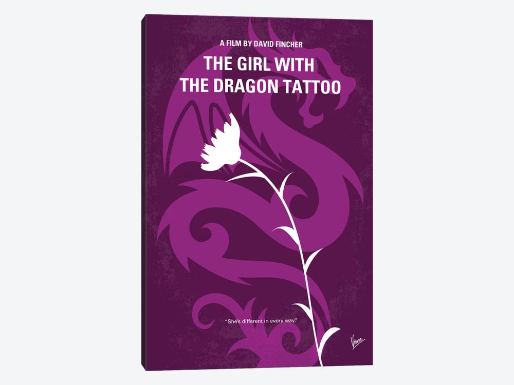 The Girl With The Dragon Tattoo Minimal Movie Poster by Chungkong 1-piece Canvas Print