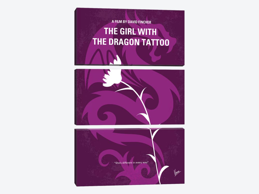 The Girl With The Dragon Tattoo Minimal Movie Poster by Chungkong 3-piece Canvas Art Print
