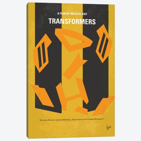 Transformers Minimal Movie Poster Canvas Print #CKG459} by Chungkong Canvas Artwork