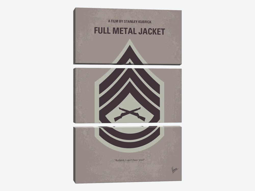 Full Metal Jacket Minimal Movie Poster 3-piece Canvas Art