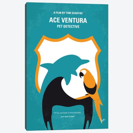 Ace Ventura: Pet Detective Minimal Movie Poster Canvas Print #CKG462} by Chungkong Art Print