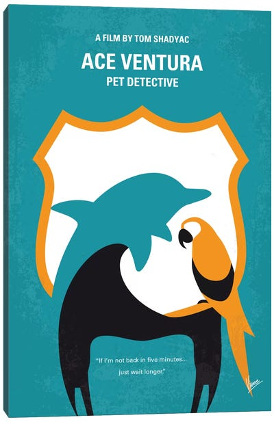 Ace Ventura: Pet Detective Minimal Movie Poster Canvas Print #CKG462