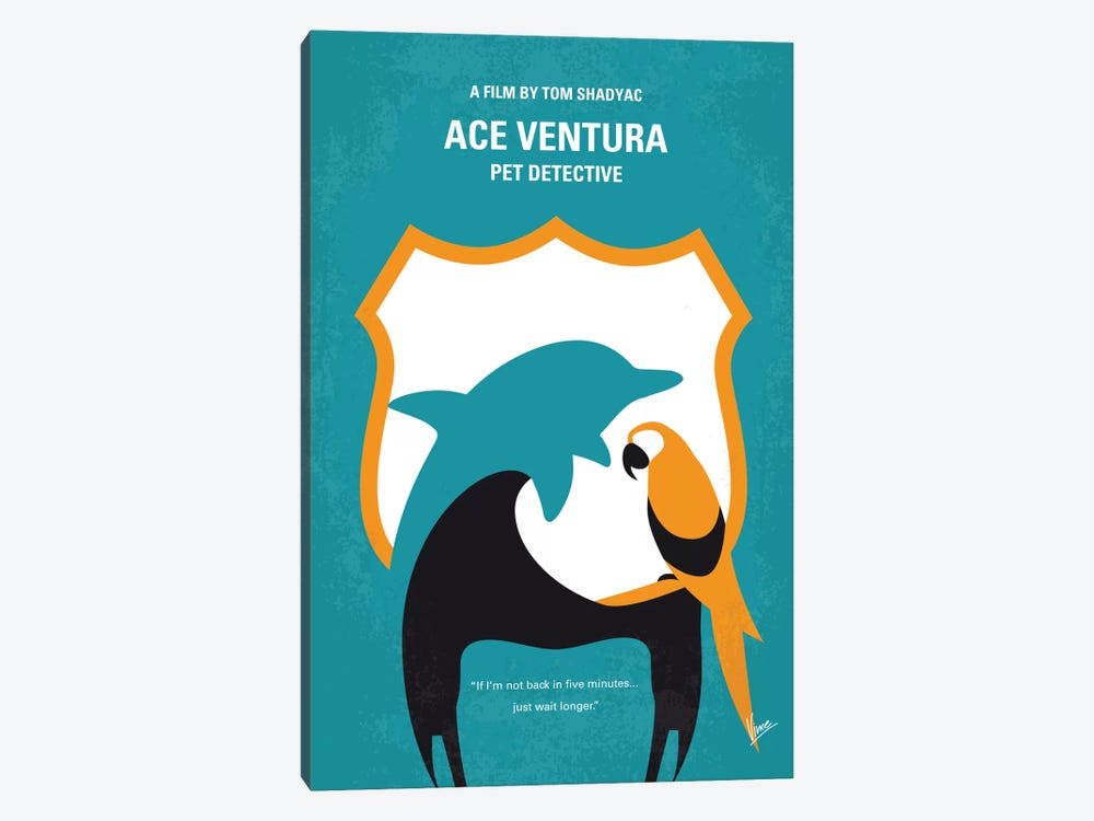 Ace Ventura: Pet Detective Minimal Movie Poster by Chungkong 1-piece Canvas Art