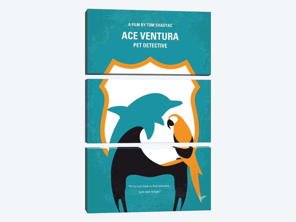 Ace Ventura: Pet Detective Minimal Movie Poster by Chungkong 3-piece Canvas Wall Art