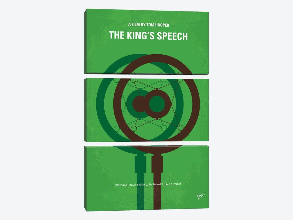 The King's Speech Minimal Movie Poster 3-piece Canvas Art Print