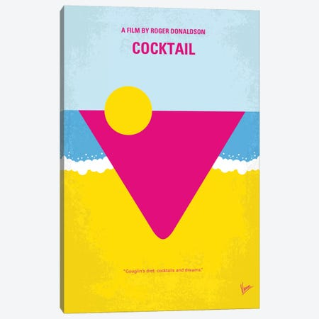 Cocktail Minimal Movie Poster Canvas Print #CKG466} by Chungkong Canvas Artwork