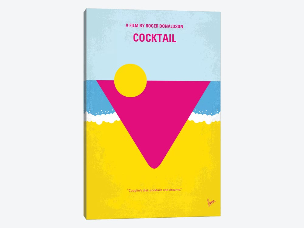 Cocktail Minimal Movie Poster by Chungkong 1-piece Canvas Artwork