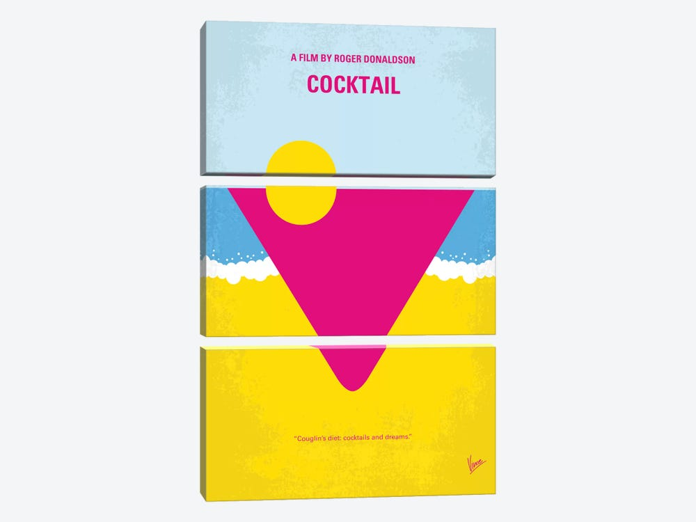 Cocktail Minimal Movie Poster by Chungkong 3-piece Canvas Art