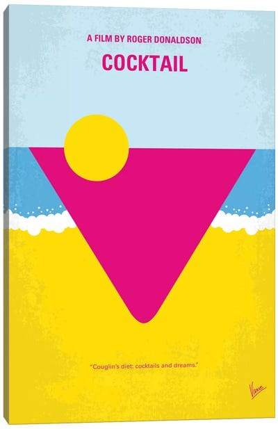 Cocktail Minimal Movie Poster Canvas Art Print