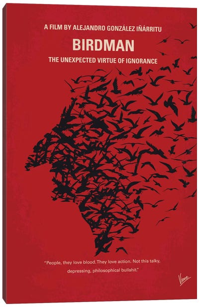 Birdman or (The Unexpected Virtue Of Ignorance) Minimal Movie Poster Canvas Art Print