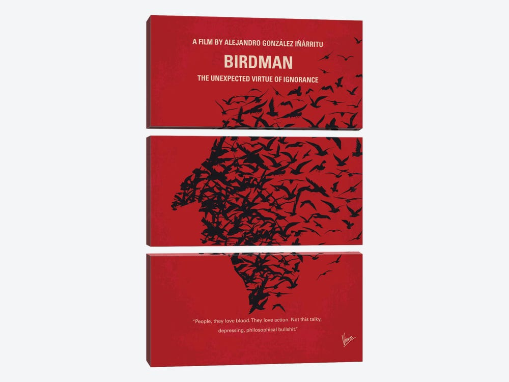 Birdman or (The Unexpected Virtue Of Ignorance) Minimal Movie Poster by Chungkong 3-piece Art Print