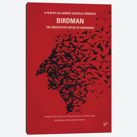 Birdman or (The Unexpected Virtue Of Ignorance) Minimal Movie Poster 3-Piece Canvas #CKG467} by Chungkong Canvas Art