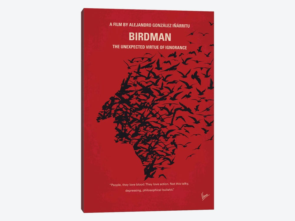Birdman or (The Unexpected Virtue Of Ignorance) Minimal Movie Poster by Chungkong 1-piece Canvas Art Print