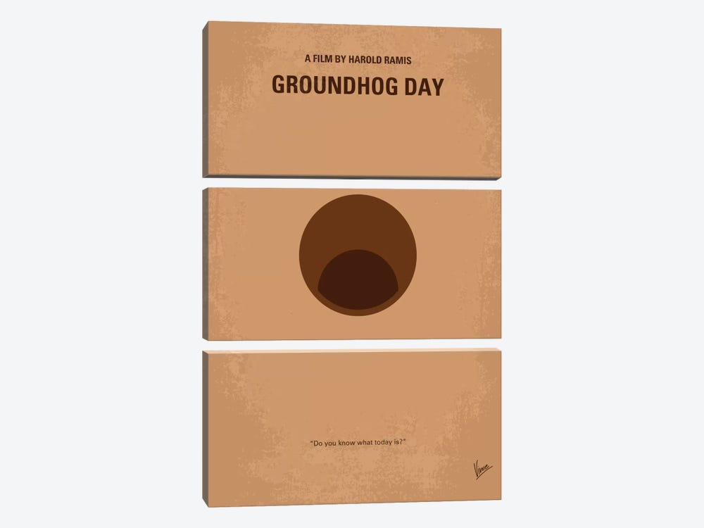 Groundhog Day Minimal Movie Poster by Chungkong 3-piece Canvas Art Print
