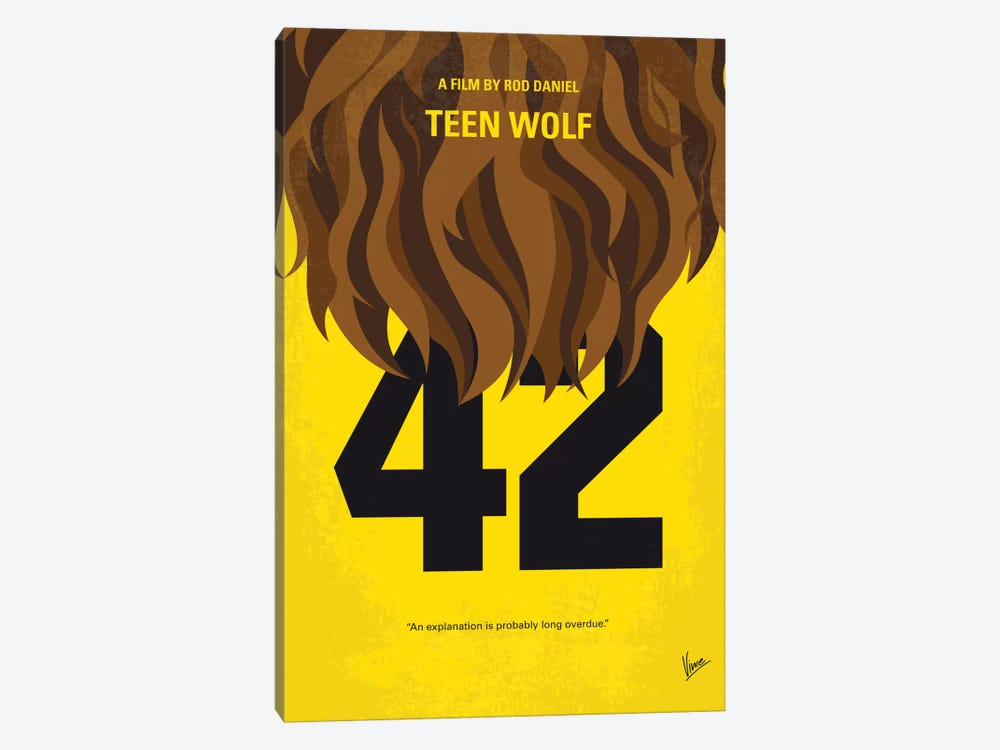 Teen Wolf Minimal Movie Poster by Chungkong 1-piece Canvas Art Print
