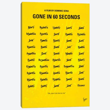 Gone In 60 Seconds Minimal Movie Poster Canvas Print #CKG47} by Chungkong Canvas Artwork