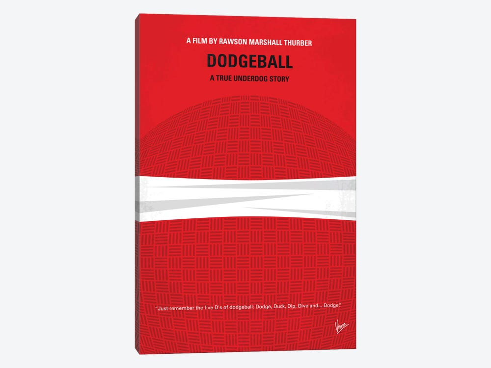 Dodgeball Minimal Movie Poster by Chungkong 1-piece Canvas Art