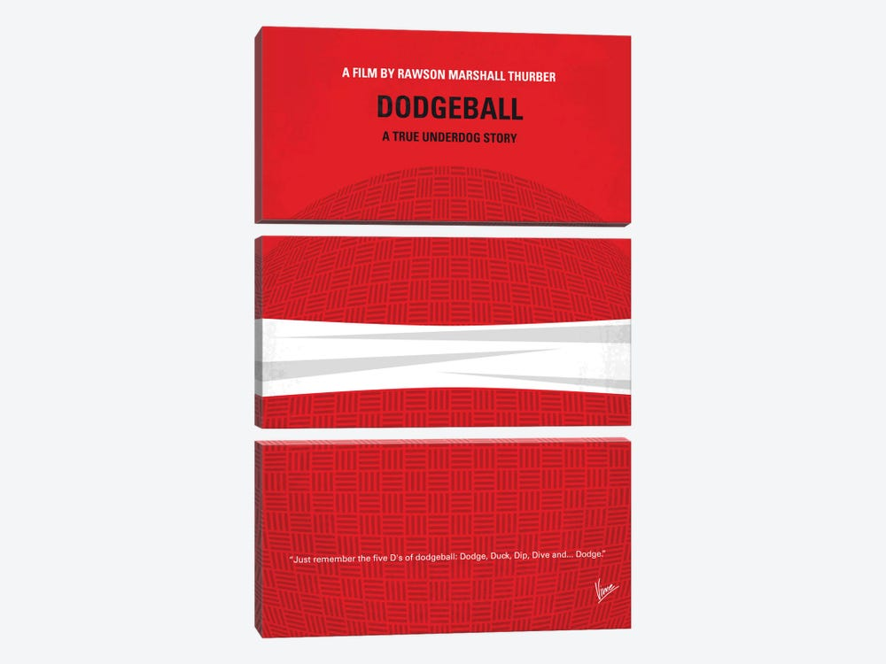 Dodgeball Minimal Movie Poster by Chungkong 3-piece Canvas Art