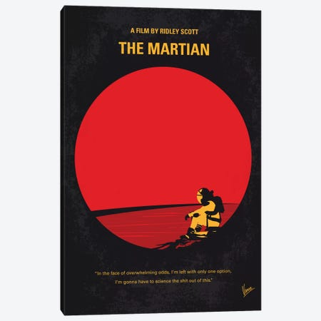 The Martian Minimal Movie Poster Canvas Print #CKG482} by Chungkong Canvas Art Print