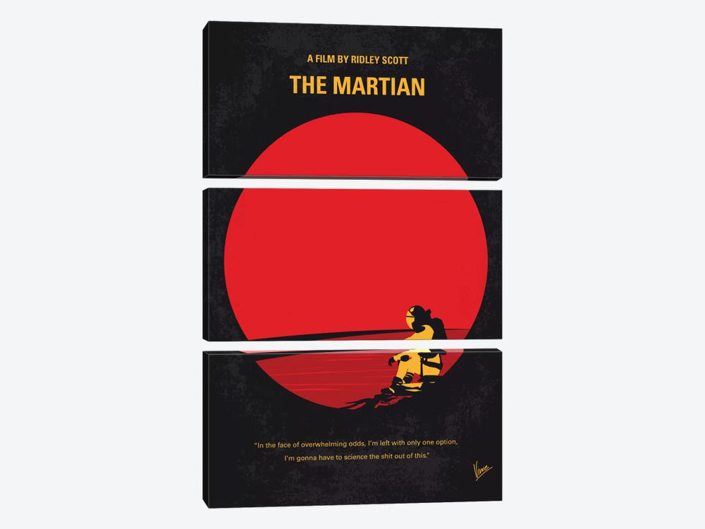 The Martian Minimal Movie Poster by Chungkong 3-piece Canvas Wall Art