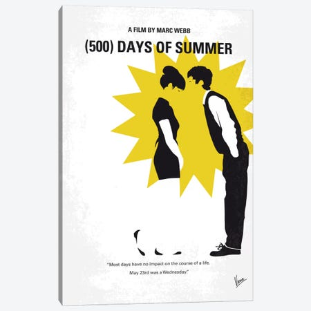 (500) Days Of Summer Minimal Movie Poster Canvas Print #CKG485} by Chungkong Canvas Art