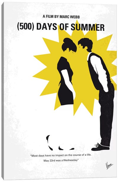 (500) Days Of Summer Minimal Movie Poster Canvas Art Print