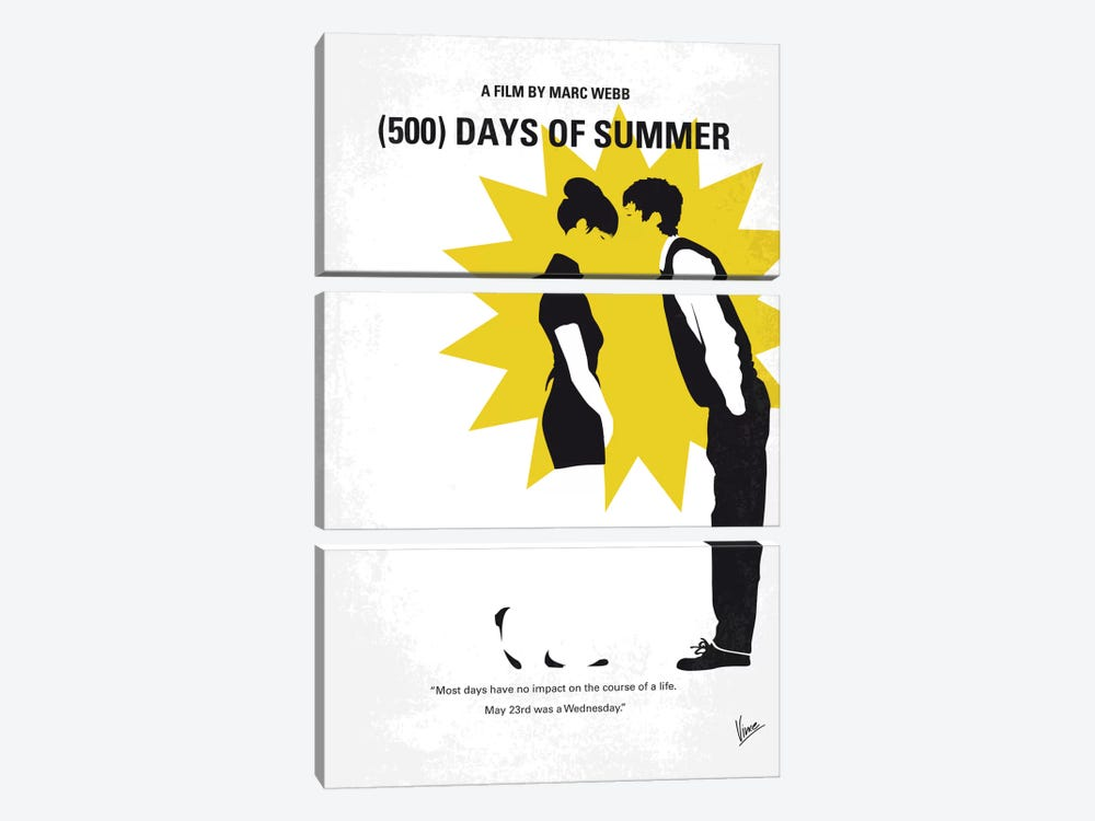 (500) Days Of Summer Minimal Movie Poster by Chungkong 3-piece Canvas Art Print