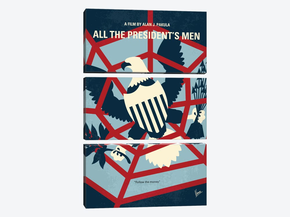 All The President's Men Minimal Movie Poster by Chungkong 3-piece Canvas Art Print