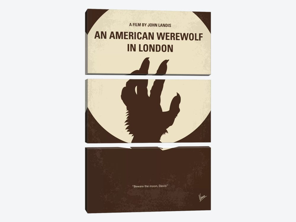 An American Werewolf In London Minimal Movie Poster by Chungkong 3-piece Canvas Art