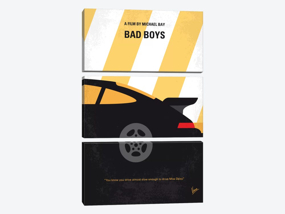 Bad Boys Minimal Movie Poster by Chungkong 3-piece Canvas Wall Art