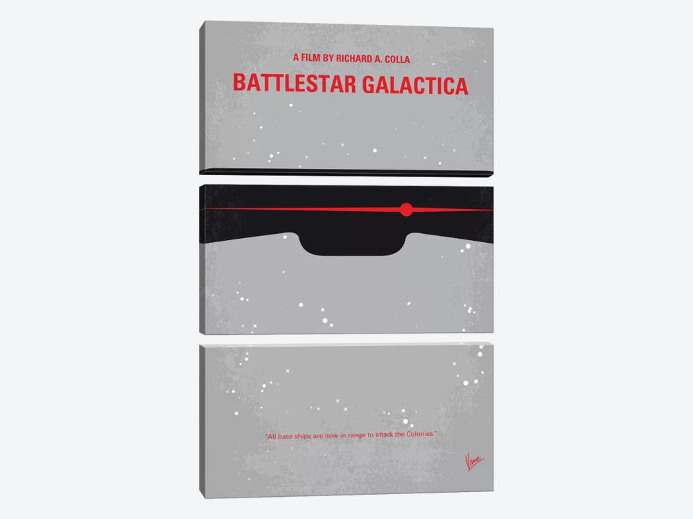 Battlestar Galactica Minimal Movie Poster by Chungkong 3-piece Canvas Print