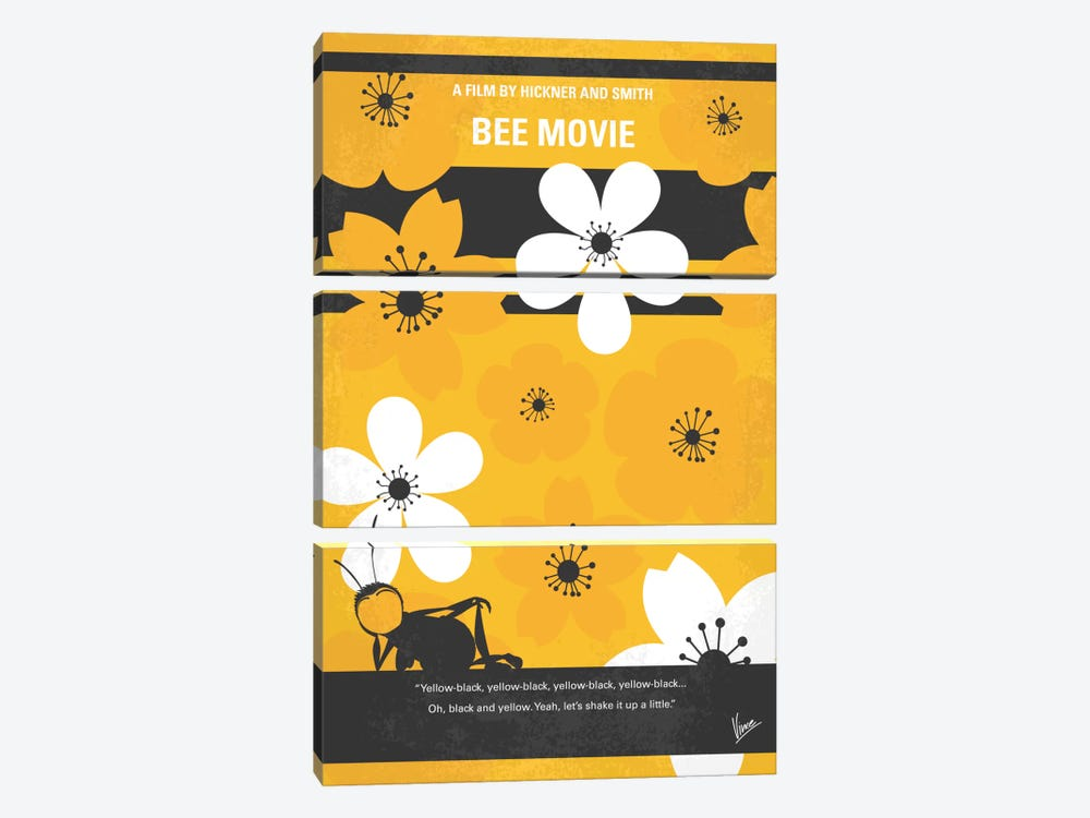 Bee Movie Minimal Movie Poster 3-piece Canvas Art