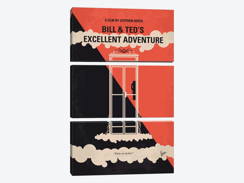 Bill & Ted's Excellent Adventure Minimal Movie Poster by Chungkong 3-piece Canvas Artwork
