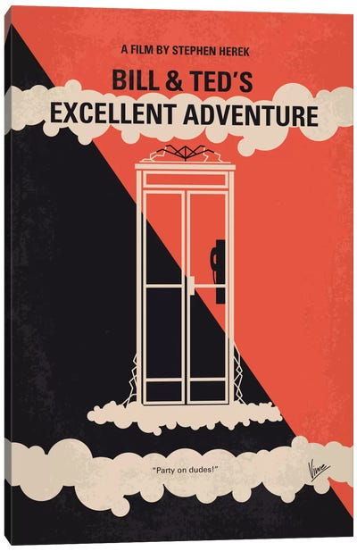 Bill & Ted's Excellent Adventure Minimal Movie Poster Canvas Art Print
