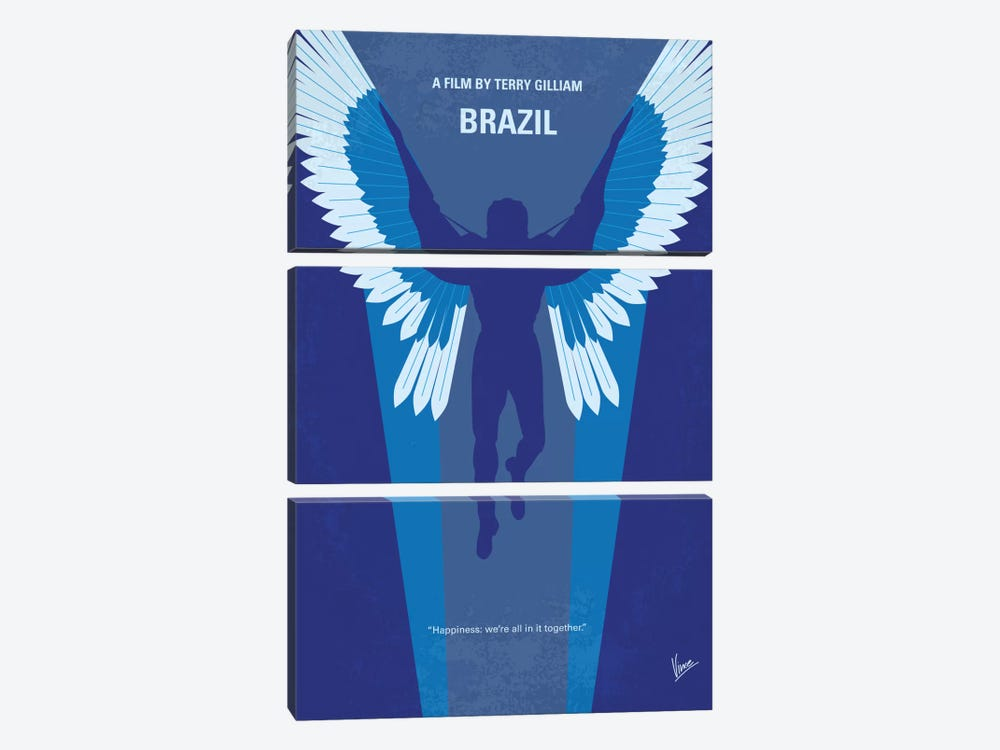 Brazil Minimal Movie Poster by Chungkong 3-piece Canvas Art Print