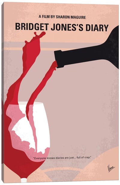 Bridget Jones's Diary Minimal Movie Poster Canvas Art Print