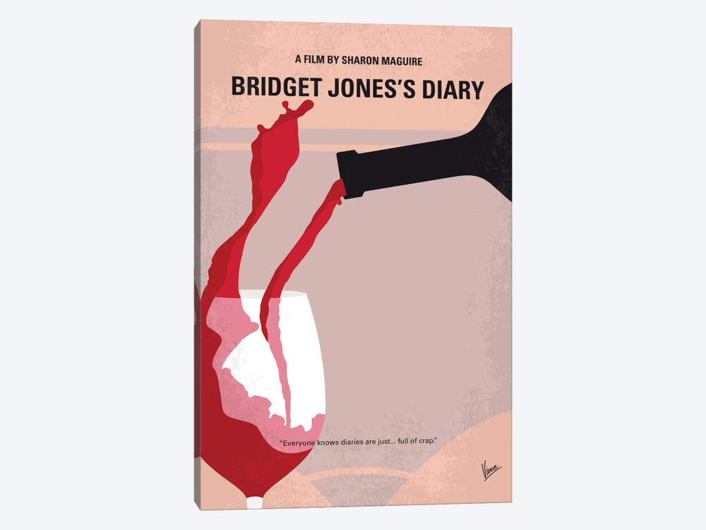Bridget Jones's Diary Minimal Movie Poster by Chungkong 1-piece Canvas Art