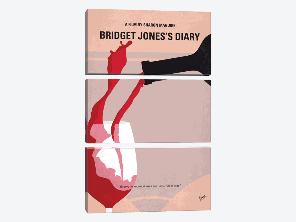 Bridget Jones's Diary Minimal Movie Poster by Chungkong 3-piece Canvas Artwork