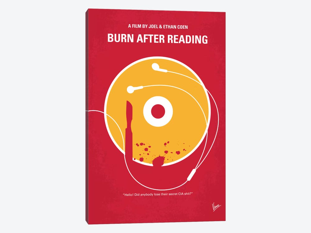 Burn After Reading Minimal Movie Poster by Chungkong 1-piece Canvas Art Print