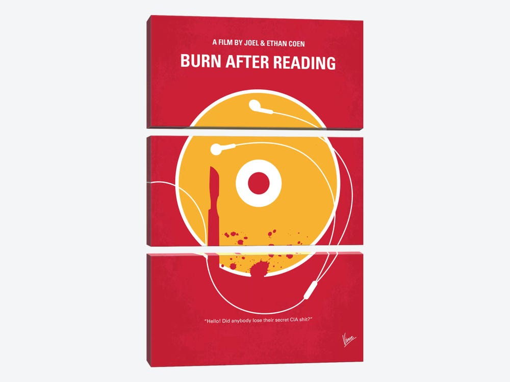 Burn After Reading Minimal Movie Poster by Chungkong 3-piece Canvas Print
