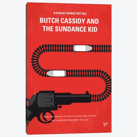 Butch Cassidy And The Sundance Kid Minimal Movie Poster Canvas Print #CKG507} by Chungkong Canvas Print