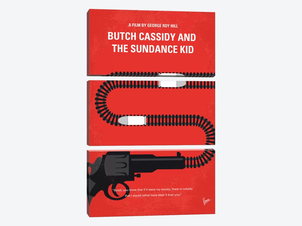 Butch Cassidy And The Sundance Kid Minimal Movie Poster by Chungkong 3-piece Canvas Wall Art