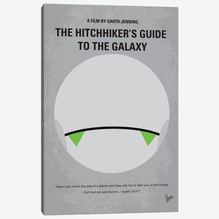 The Hitchhiker's Guide To The Galaxy Minimal Movie Poster Canvas Print #CKG50} by Chungkong Canvas Wall Art