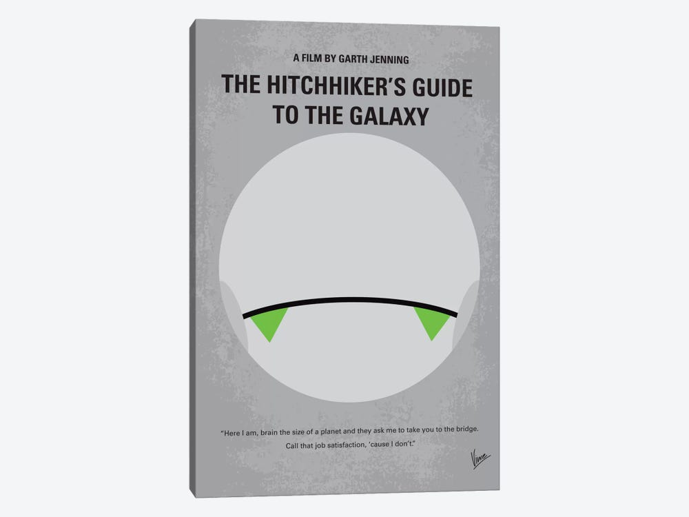 The Hitchhiker's Guide To The Galaxy Minimal Movie Poster by Chungkong 1-piece Canvas Art