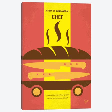 Chef Minimal Movie Poster Canvas Print #CKG510} by Chungkong Canvas Art Print