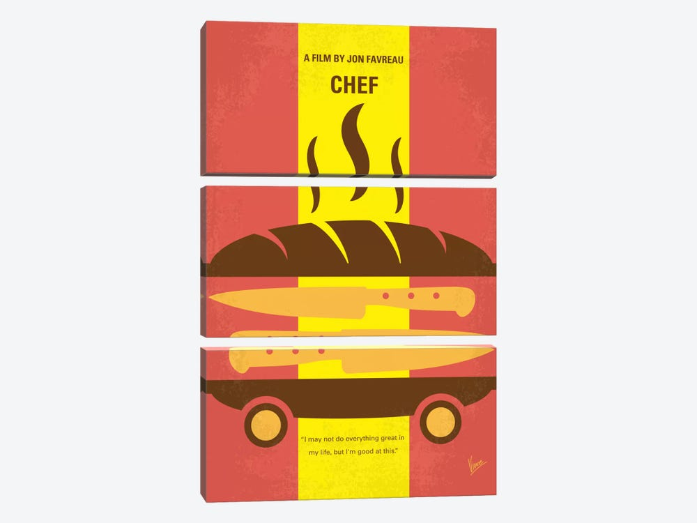 Chef Minimal Movie Poster by Chungkong 3-piece Canvas Artwork