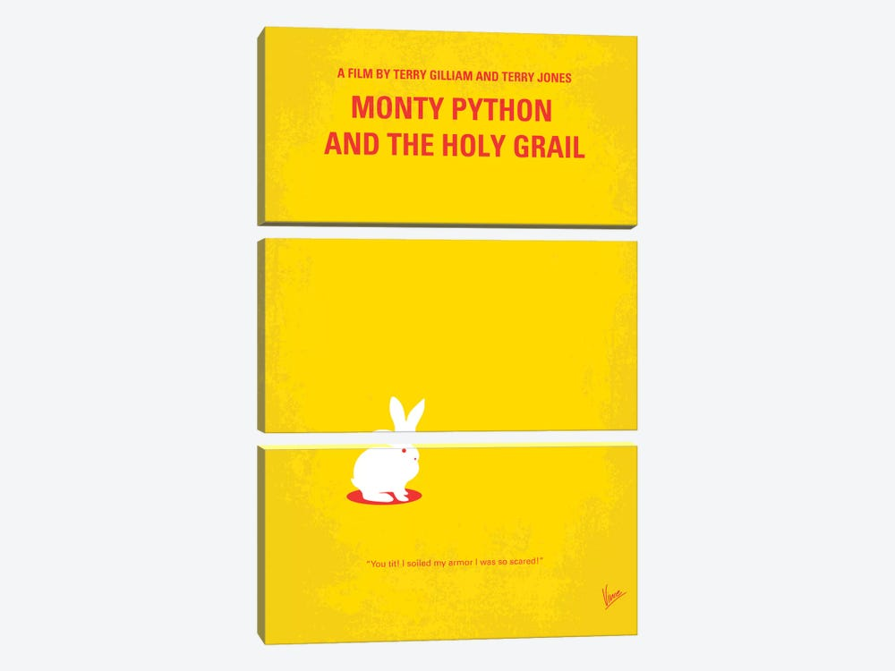 Monty Python And The Holy Grail Minimal Movie Poster by Chungkong 3-piece Canvas Art Print