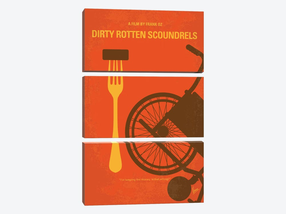 Dirty Rotten Scoundrels Minimal Movie Poster by Chungkong 3-piece Canvas Art Print
